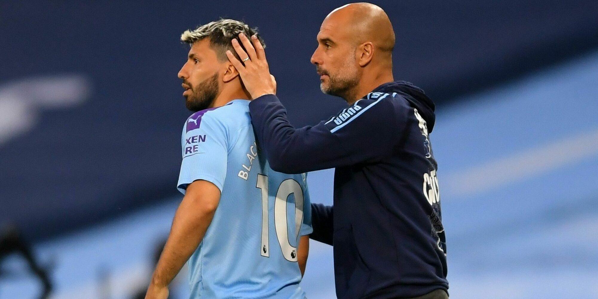 Guardiola i Agüero, en un partit de la Premier | Europa Press