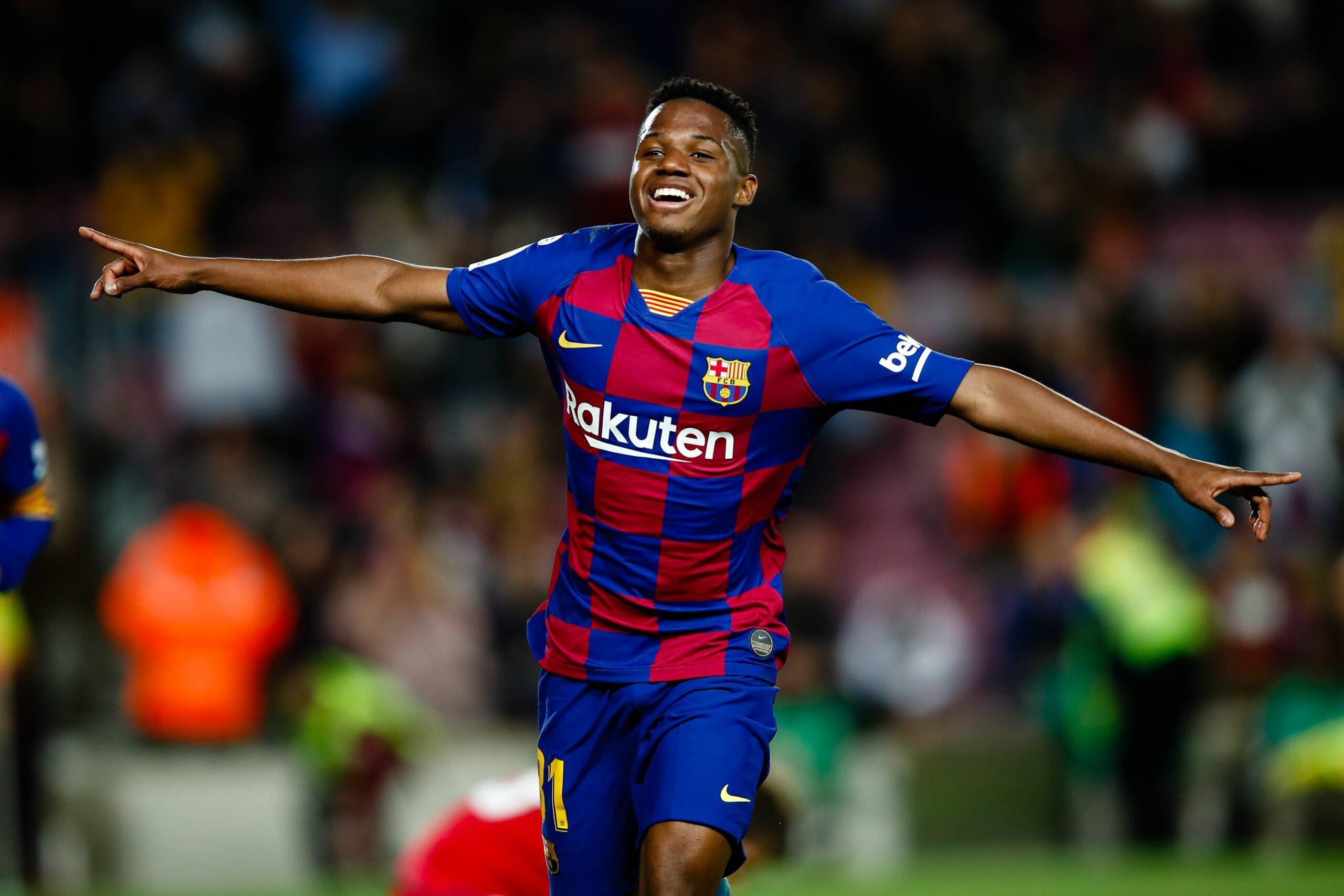 Ansu Fati celebra un dels seus dos gols contra el Llevant   Europa Press
