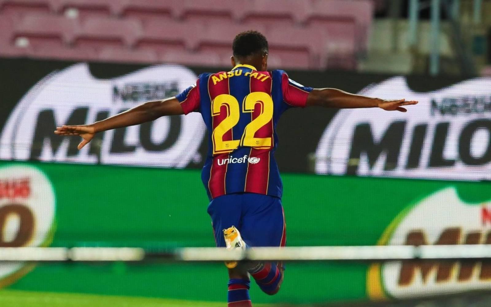 Ansu Fati celebra un gol contra el Vila-real   FC Barcelona
