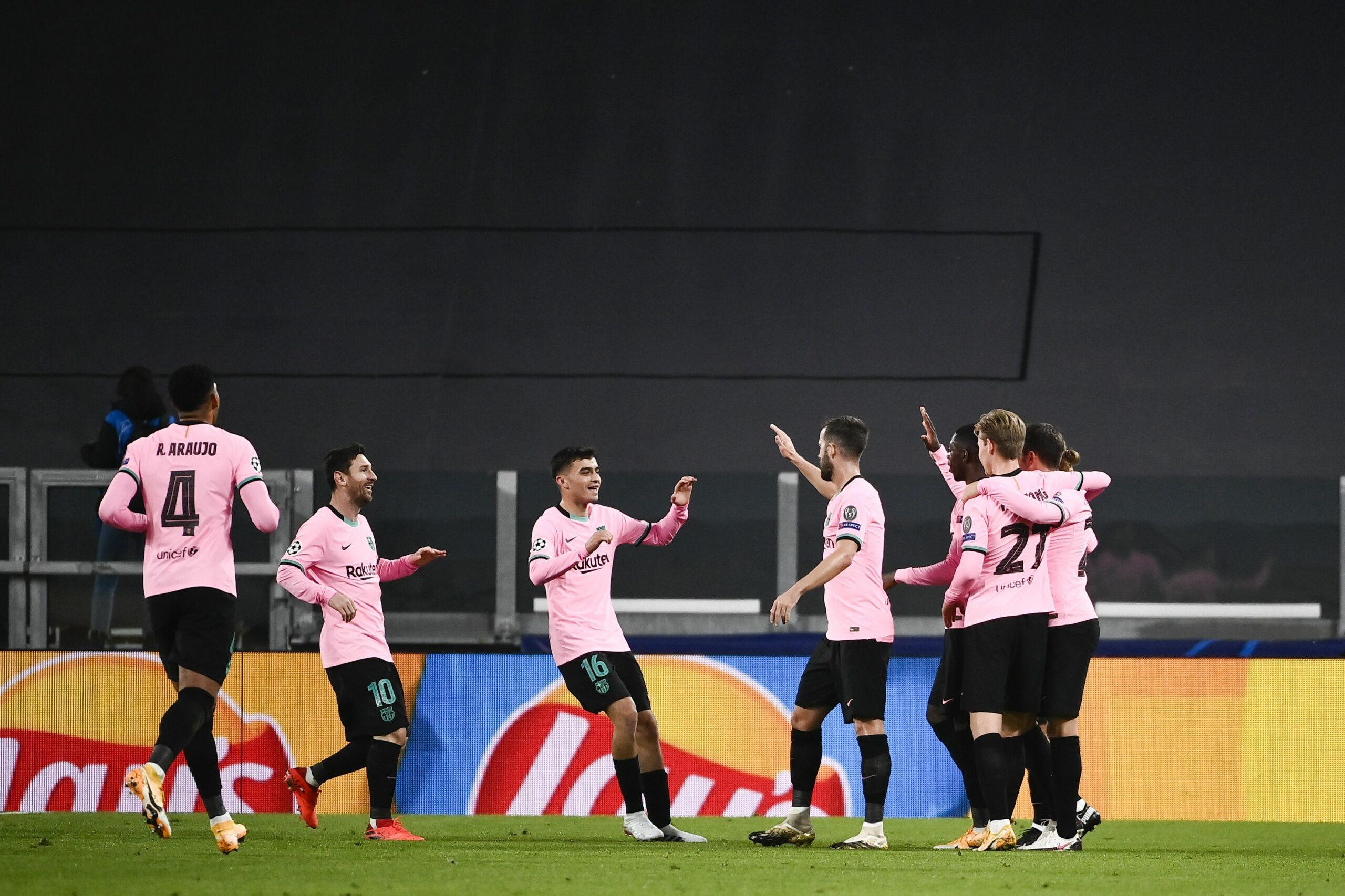 Els jugadors del Barça celebren el gol de Dembélé contra la Juventus | Europa Press