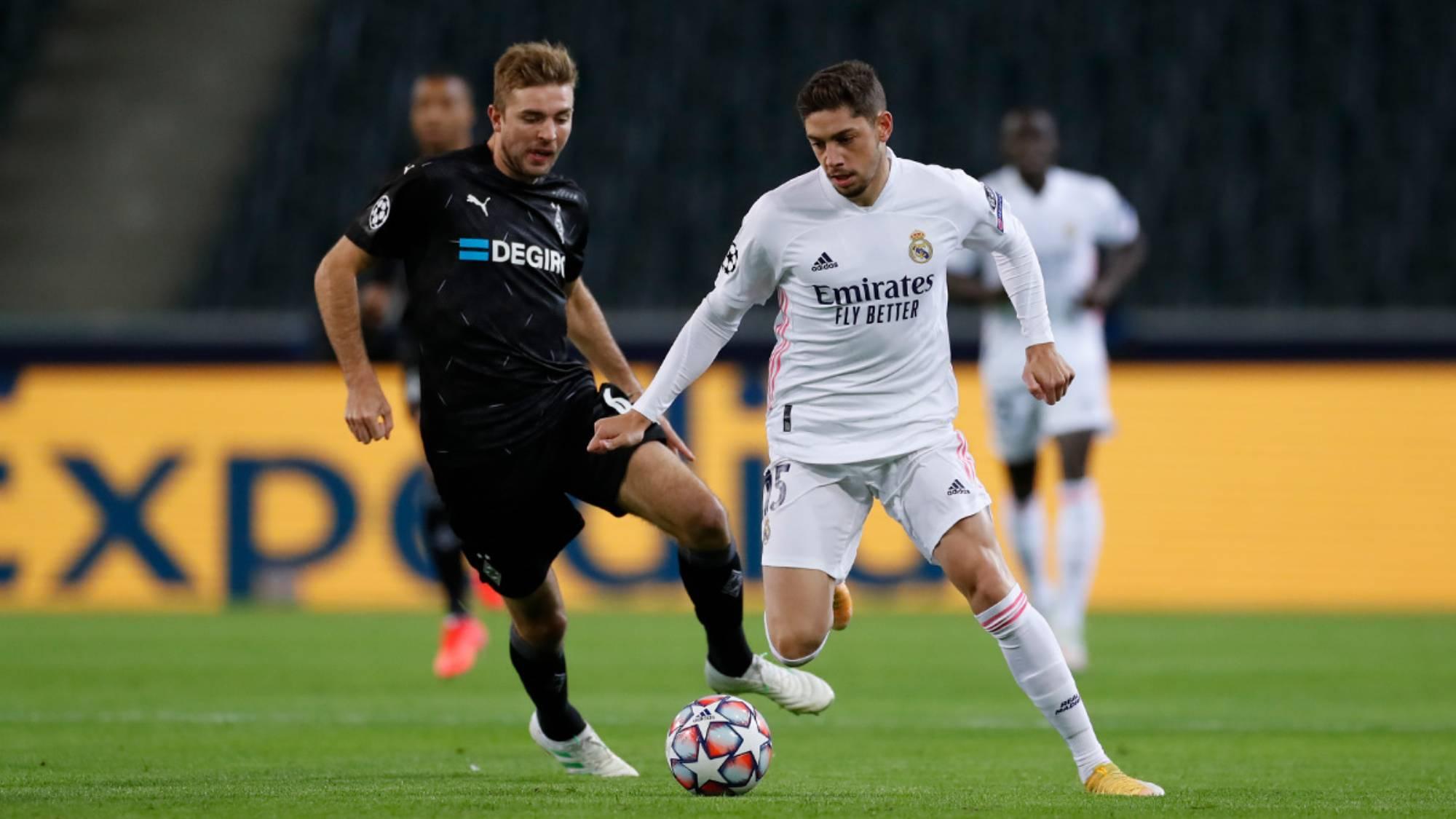 Fede Valverde, durant el partit contra el Gladbach   Real Madrid CF