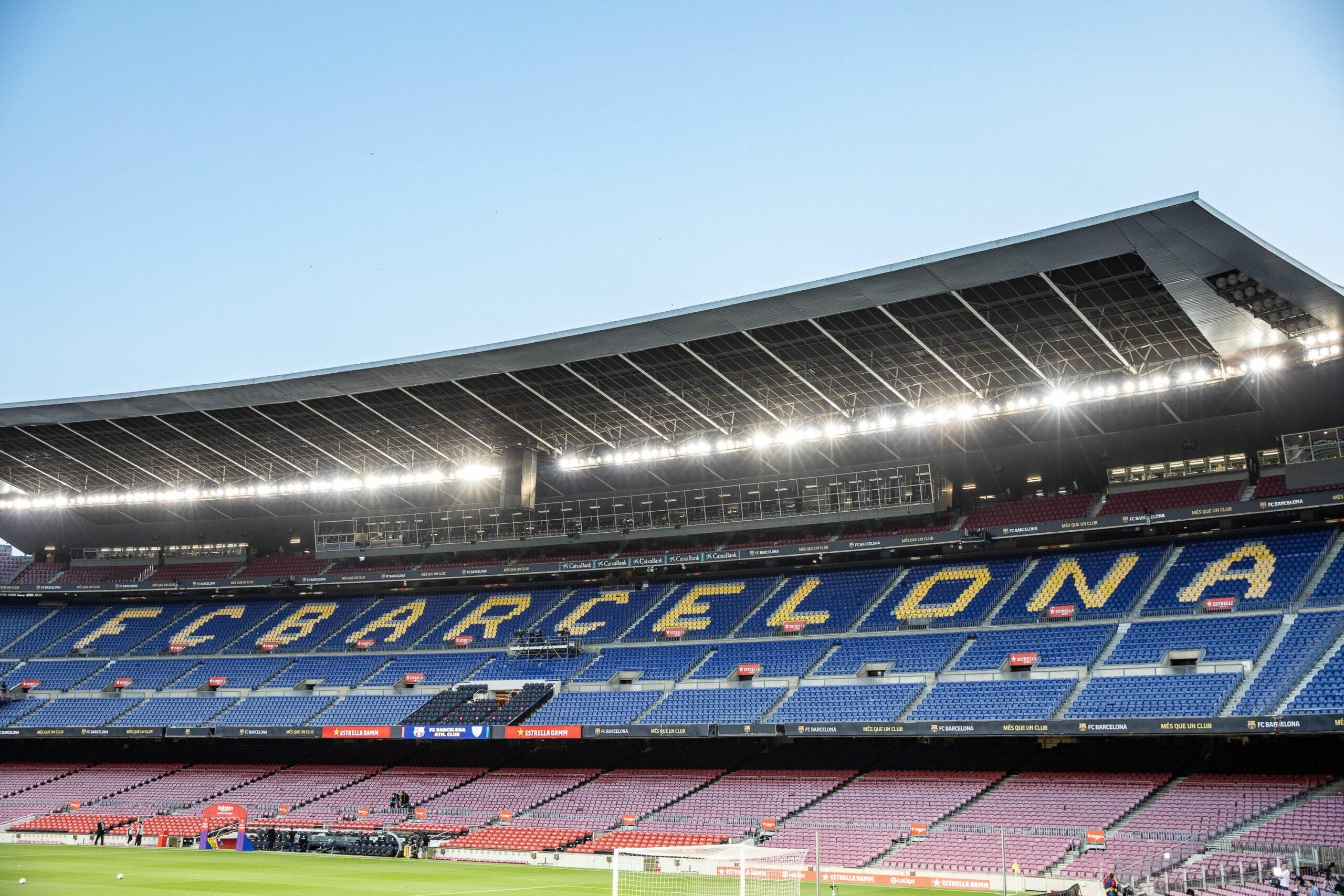 El Camp Nou, durant un partit a porta tancada   Europa Press