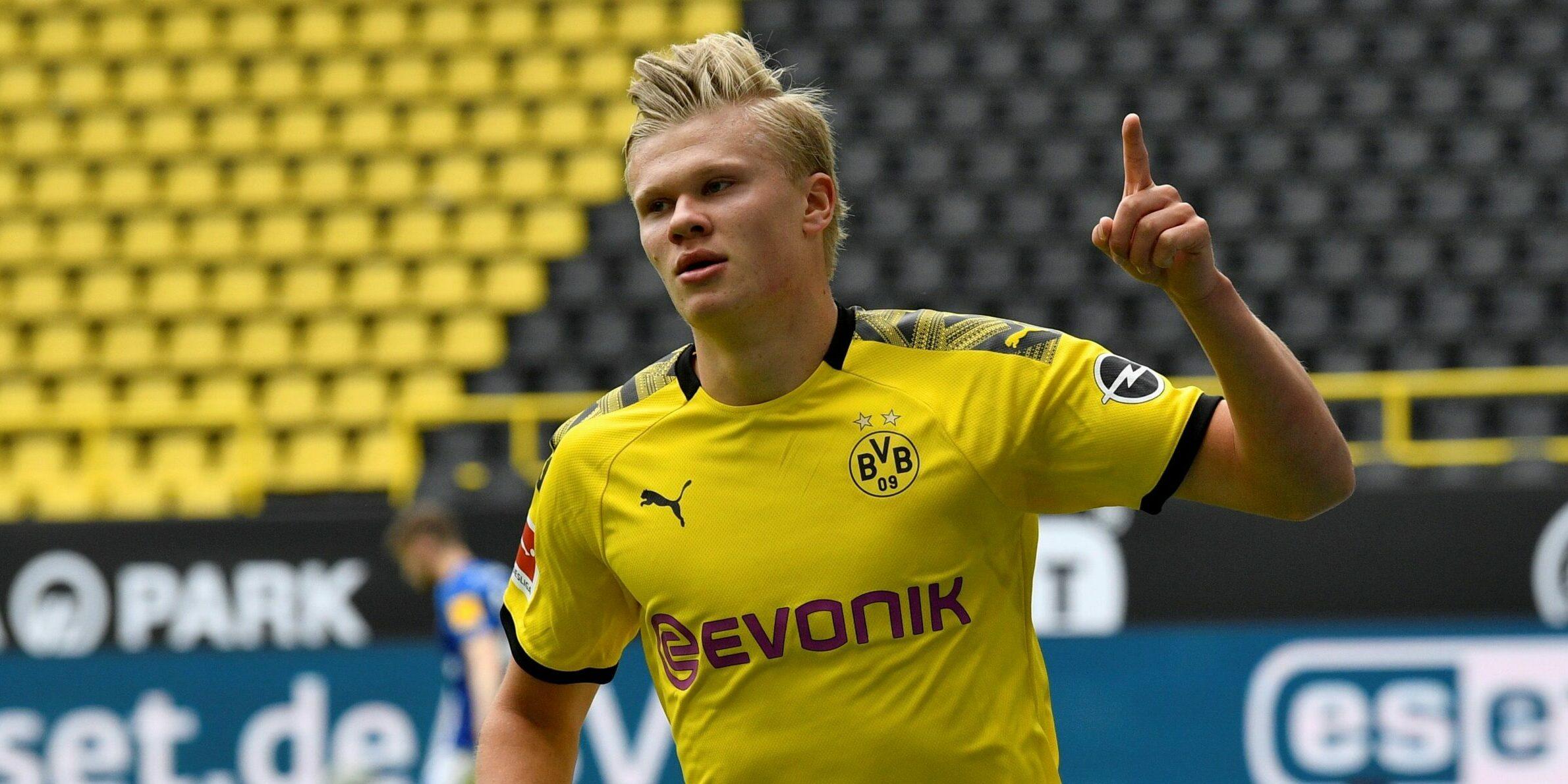 Haaland celebra un gol   EFE