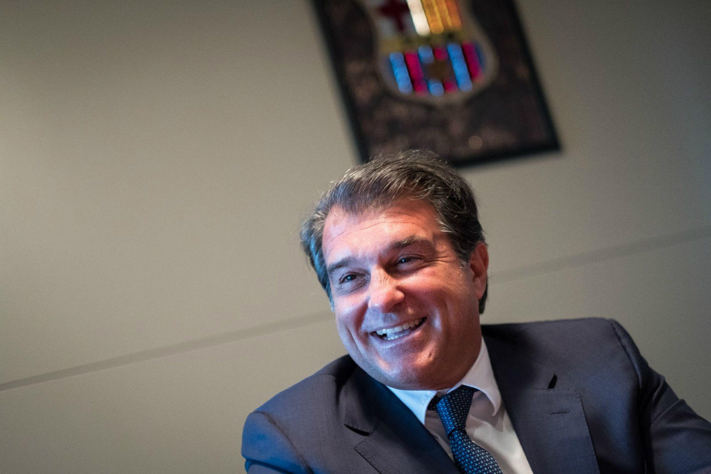 Joan Laporta, durant una entrevista a Món Esport