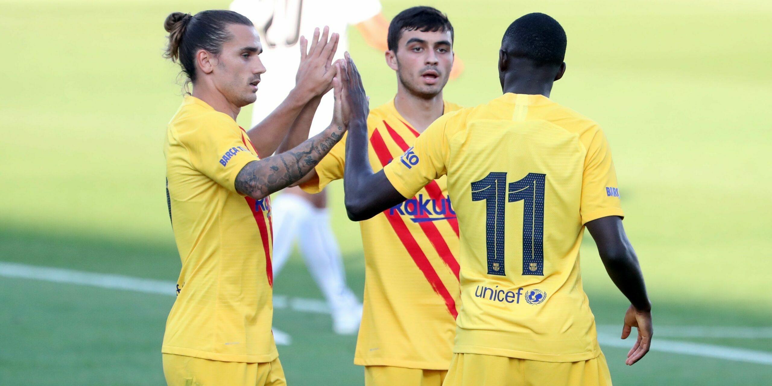 Pedri, Griezmann i Dembélé celebren un gol | FC Barcelona