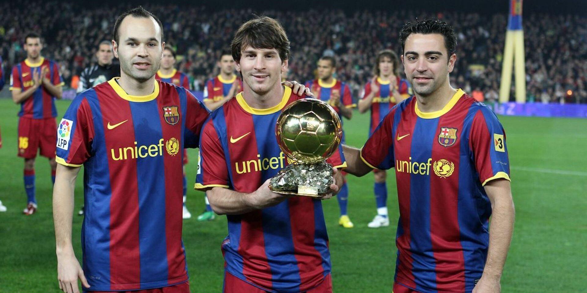 Messi, Xavi i Iniesta, amb la Pilota d'Or | FC Barcelona