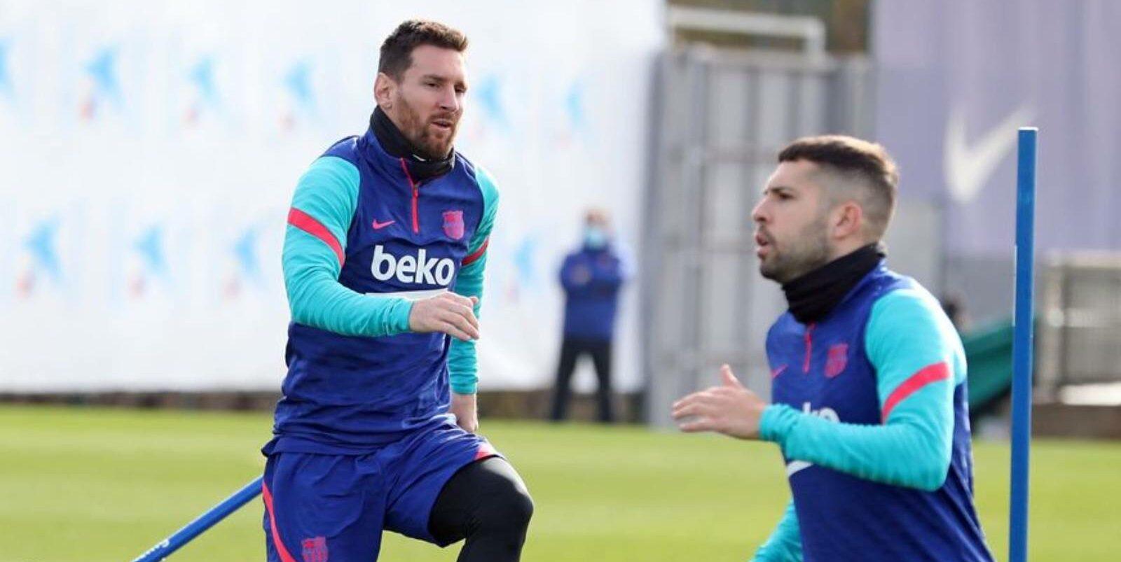 Leo Messi i Jordi Alba, durant un entrenament | FC Barcelona