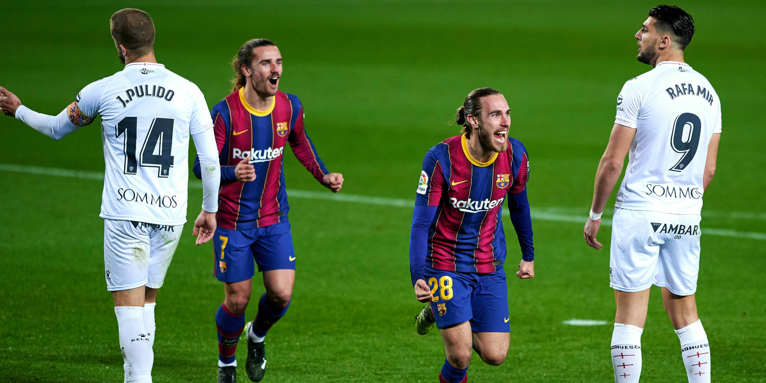 Mingueza, celebra el gol   Europa Press