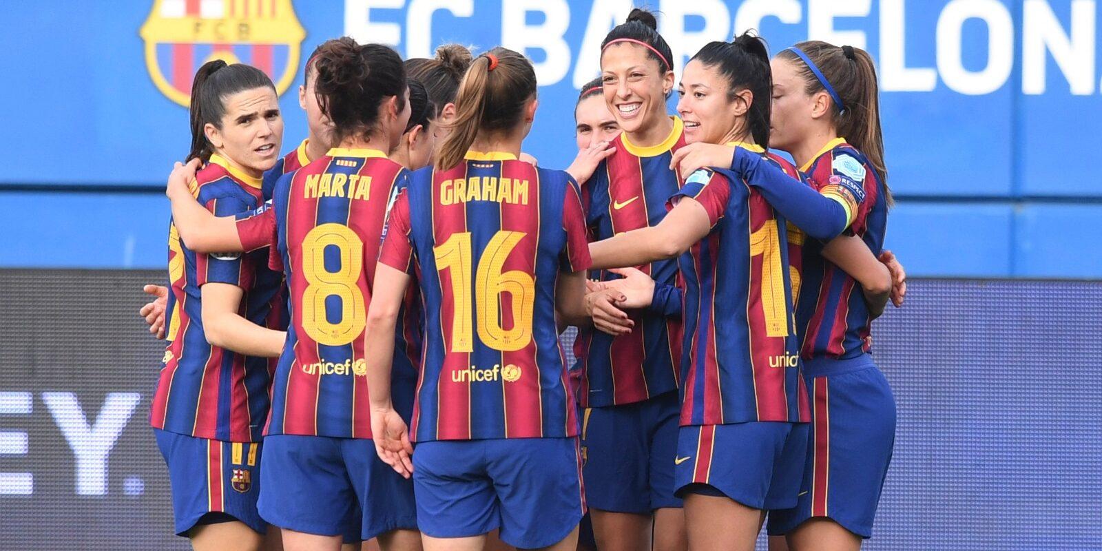 Jenni Hermoso celebra un gol amb les seves companyes   FC Barcelona