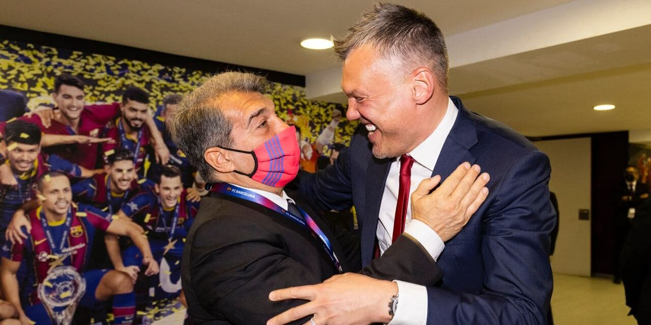 Laporta i Sarunas Jasikevicius   FC Barcelona